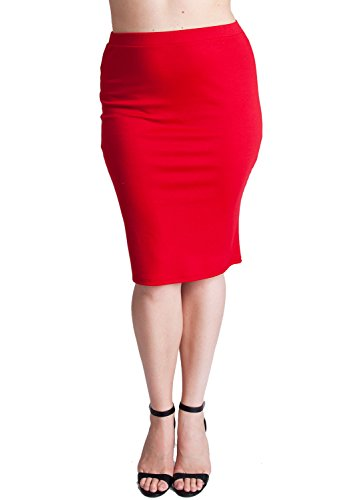 Woman Tomato Plus Size Banded Waistline Pencil Skirt