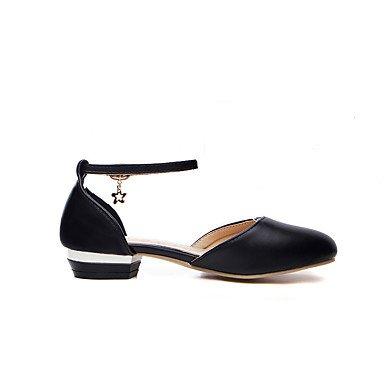 LvYuan Mujer Zapatos Semicuero Primavera Verano Hebillas Metálicas Tacón Bajo Blanco Negro Rosa Plano White