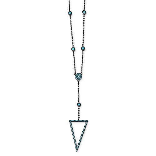 Solid 925 Sterling Silver Black-Rhodium Dyed White Howlite 1.5in Drop Necklace Chain 18
