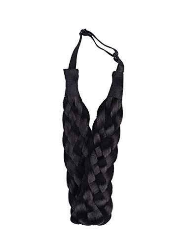 Coolcos Elastic Synthetic Chunky Hair Braid 5 Strands Braids Hair Headbands Plaited Braided Headband (1B Black Nature)