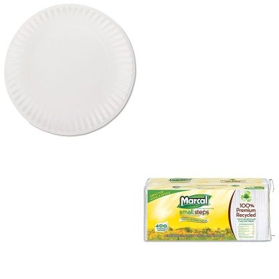 KITAJMPP9GREWHMRC6506 - Value Kit - Green Label PP9GREWH White Uncoated Paper Plates, 9quot; (AJMPP9GREWH) and Marcal 100% Premium Recycled Luncheon Napkins (MRC6506) by AJM
