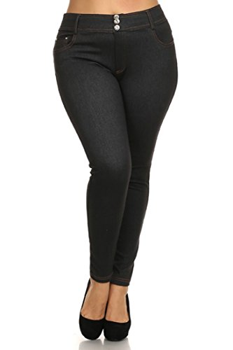 ICONOFLASH Women's Classic Everyday Fashion Denim Full Length Jegging (Navy Double Button, L/XL)