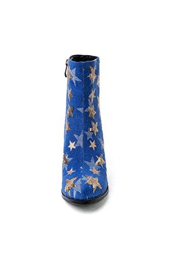 Carolbar Donna Demin Tessuto Zip Paillettes Stella Tacco Alto Stivaletti Blu No. 1