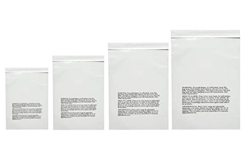 PACK OF AMERICA Clear Poly Bags   1.5 Mil Industrial Strength   Suffocation Warning Printed   Not Resealable   Permanent Extra Strong Self Seal (400pcs Variety Pack, 100 Each: 6x9, 8x10, 9x12, 11x14) from PACK OF AMERICA