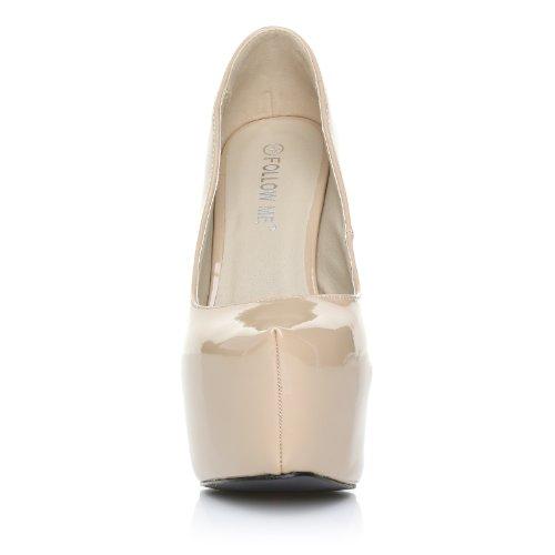 DONNA Nude Patent PU Leather Stilleto Very High Heel Platform Court Shoes AxrWb19