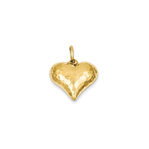Heart Puffed Gold Hammered (Roy Rose Jewelry 14K Yellow Gold Hollow Polished Hammered Medium Puffed Heart Charm)