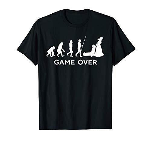 Game Over Wedding Groom Bachelor T-Shirt Funny Evolution