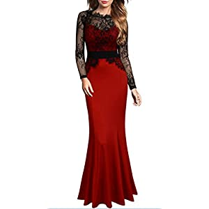 Mmondschein Women's Vintage Floral Wedding Bridesmaid Evening Long Dress