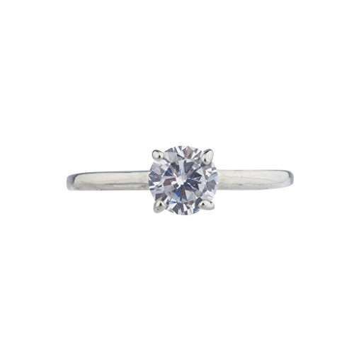 Lux Accessories 1CT IR Silvertone CZ 925 Solitaire Engagement Ring Size 9