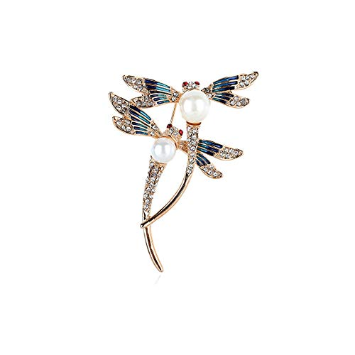 - WLLAY Silver Tone Couple Dragonfly with White Pearl Brooch Blue Enamel Insect Pin Broach (Rose Gold)