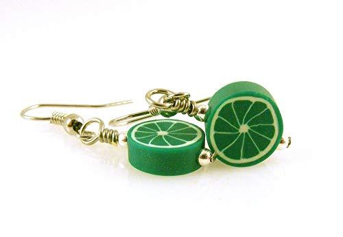 Lime Slice Dangle Earrings Polymer Clay Food Jewelry Art Clay Dangle Earrings