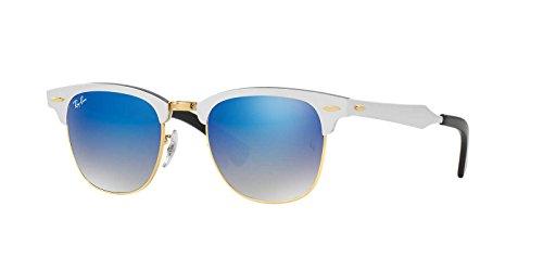 Ray-Ban Clubmaster Aluminum Sunglasses (RB3507) Silver/Blue Metal,Aluminum - Non-Polarized - - Ray Clubmaster Aluminum Ban Silver