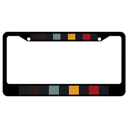 Wisconsin National Guard Write (Perfect Attendance) Award Ribbon Vanity License Plate Frame Tag Stainless Steel, Custom License Plate Holder, Military Pride Car Tag Cover, 2 Holes and Screws