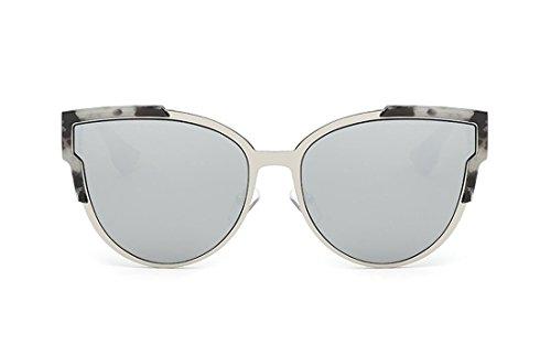 SojoS SJ2017 Cat Eye Mirrored Flat Lenses Street Fashion Metal Frame Sunglasse for Women with grey frame/silver lens (Lenses Eye Cat)