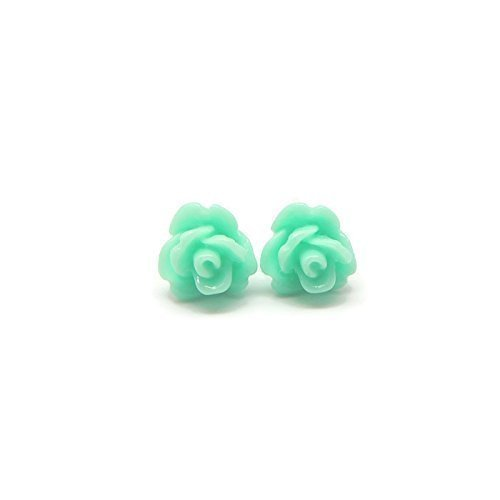 8mm Small Rose Earrings on Plastic Posts for Metal Sensitive Ears, Pale Aqua Blue