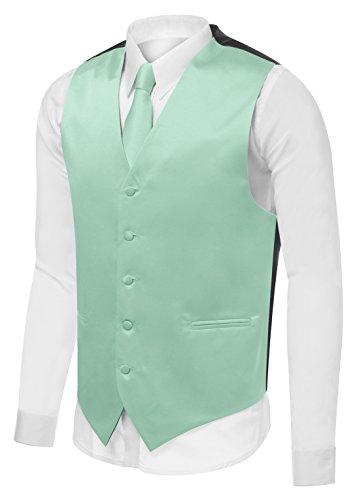 Vest Set Neck Tie, Hanky for Suit or Tuxedo, XXX-Large, Mint V24 ()