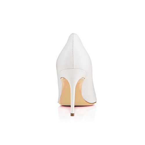 Pompe Centimetri 8cm Shoes Pointed Womens High Toe White Stiletto Classico Sexy Pumps 8 Heel Womens Toe Stiletto Court Appuntito Sexy Elashe Pumps Tallone Bianco Scarpe Corte Elashe Classic cf76Iqq
