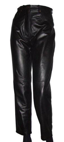 Paccilo Women Jean 8027 Waist Black Leather Pants