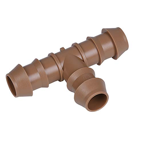 Connection Tee - Arfun 20-Pack Drip Irrigation Barbed Tee Fittings, Fits of 1/2
