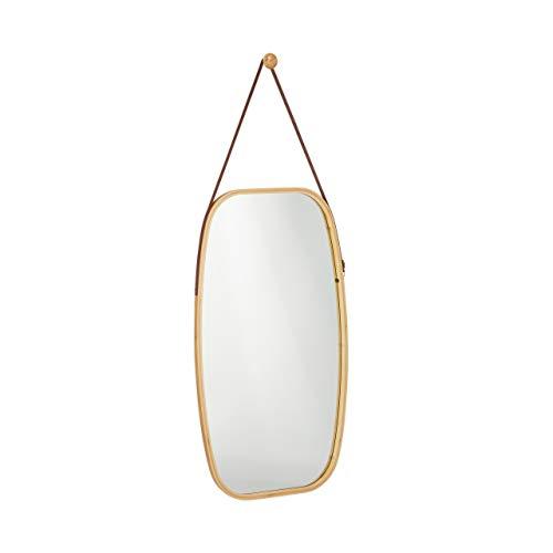 Relaxdays Espejo de Pared, Ovalado, Marco de bambu, Correa Ajustable, 76,5x43,5cm, Marron
