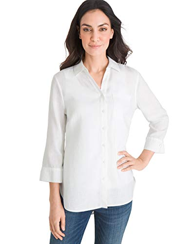 Chico's Women's No-Iron Linen Shirt Size 4 S (0) White