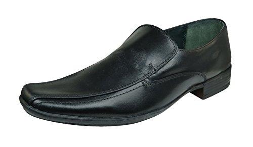 Lambretta Shellan Heren Leren Slim Formele Slip-schoenen / Brogues Zwart