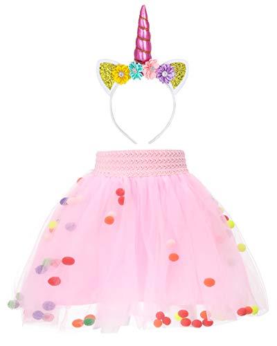 Baby Girl Toddler Tutu Skirt and Horn Headband Set ()