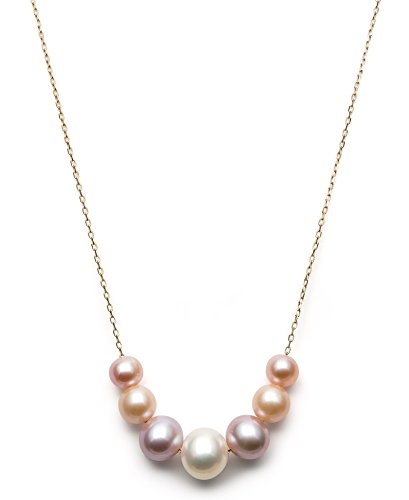 14k Yellow Gold 6-9.5mm Multi-Colored Pink Cultured Freshwater Pearl Chain Necklace, 18