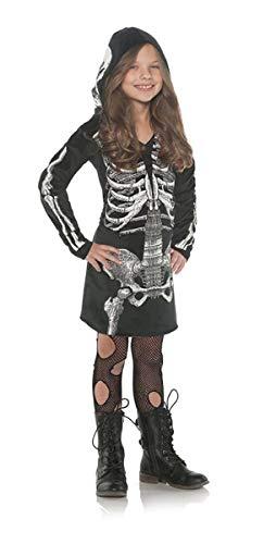 (Little Girl's Skeleton Bones Hoodie Dress -)