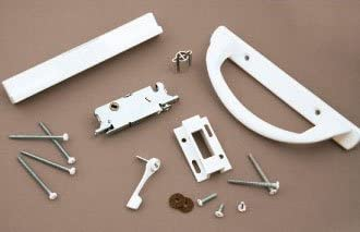 White Euro-Crescent Sliding Glass Door Handle Kit