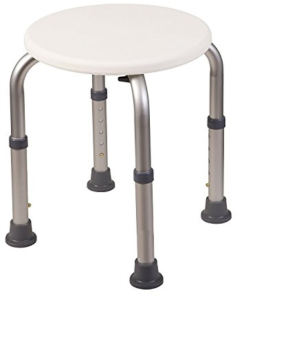 Healthline Trading Round Stool Bath Bench Adjustable Height, Lightweight Compact and Small Chair for Shower, with Non-Slip Seat, White (Bath Light Heights)