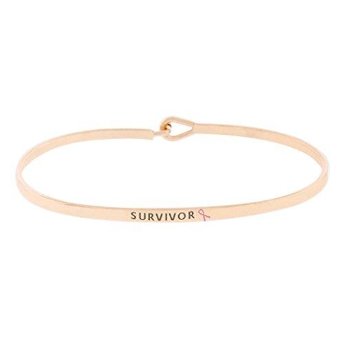 Rosemarie Collections Women's Pink Ribbon Thin Hook Bangle Bracelet Survivor (Rose Gold Tone)