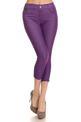 Belle Donne - Women's Pants Capri Jeggings Cotton Blend Solid Colors-Purple/2XL (Bella Footless Tights)