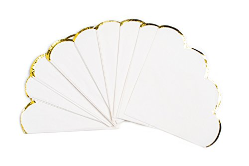 Gold Scalloped - Sugar & Cloth Round Scallop Paper Napkins, White with Gold Edge, 32 Count
