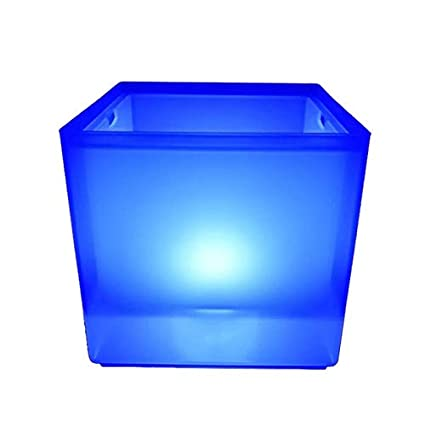 SODIAL LED Ice Bucket RGB Color Double Layer Square Bar Beer Ice Bucket RGB Color Changing Durable Ice Wine Bucket 3.5 L for Bar
