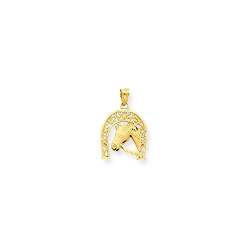 10k Yellow Gold Good Luck Horseshoe with Horse Charm (16 x 23 - Horseshoe Italian Charm