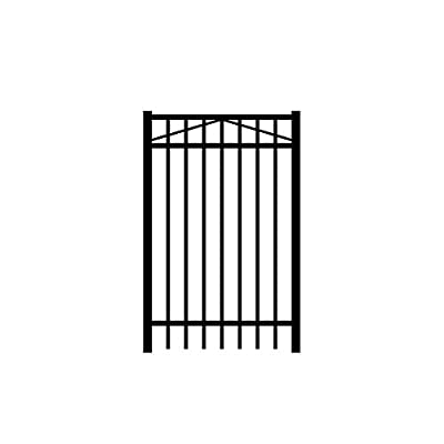 Allure Aluminum Cosmopolitan 3 ft. x 4 ft. Black Aluminum 3-Rail Fence Gate