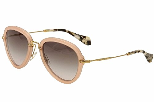 Miu Miu MU 03QS TV13E2 Sand opal Antique Pink And Gold Plastic Fashion Sunglasses Grey Gradient - Sunglasses Aviator Miu Miu