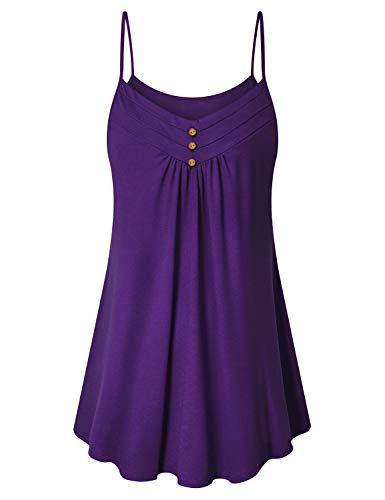 Viracy 3XL Tank Tops Women, Ladies Loose Fit Summer Camisole Spaghetti Strap V Neck Sexy Tees Miss Casual Vogue Flowing Shirred Shirt Plus Size Party Dating Clothes Purple Daily Wear with Shorts