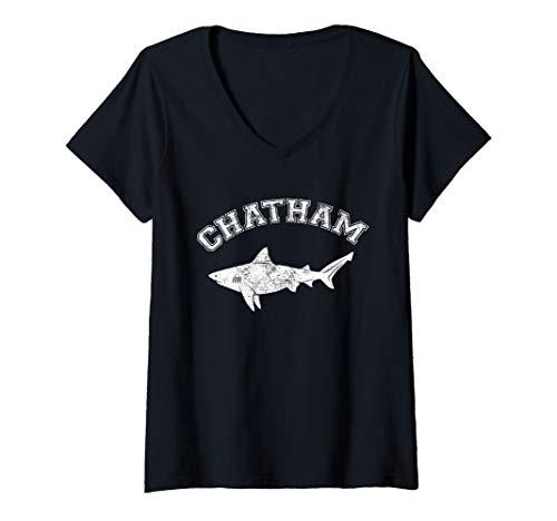 Womens Chatham MA Great White Shark MA Massachusetts The Cape V-Neck T-Shirt
