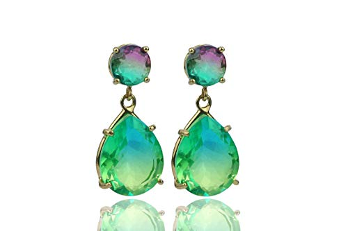 Anemone Limited 14K Gold Tourmaline Earrings - Beautiful & Stylish 4-Prong Green Tourmaline Earrings Made By Skilled Artisans - With Free Earrings Box For Jewelry Gift [Handmade] ()