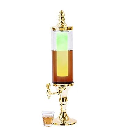 7 colores luz tubo de hielo cerveza jugo dispensador de bebidas torre 3 L dorado