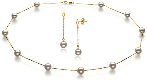 PearlsOnly - Tin Cup White 6-7mm AA Quality Japanese Akoya 14K Yellow Gold Cultured Pearl Set by PearlsOnly