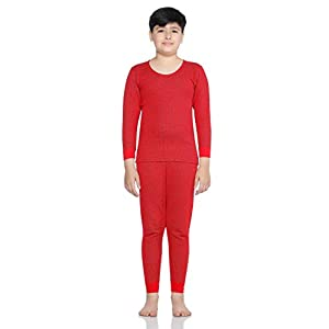 BODYCARE INSIDER (Anti Bacterial) Red Solid Kids Thermal Top & Bottom Set