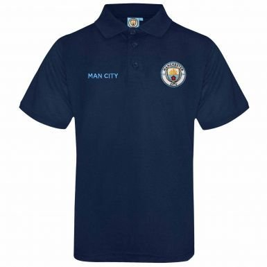 Official Manchester City Crest Polo Shirt (Adults)