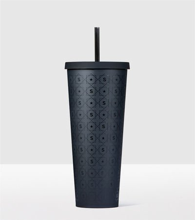 Starbucks Matte Black Pattern Cold Cup Acrylic Travel Tumble