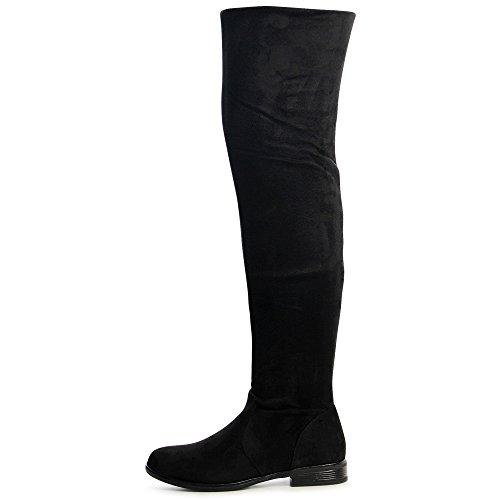 Topschuhe24 Nouveau Donna Haute Stivali Cuisse Noir axarqwBv
