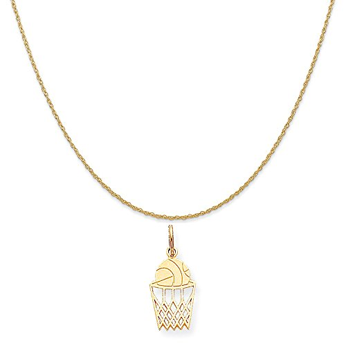 Mireval 10k Yellow Gold Basketball Charm on a 14K Yellow Gold Rope Chain Necklace, 18