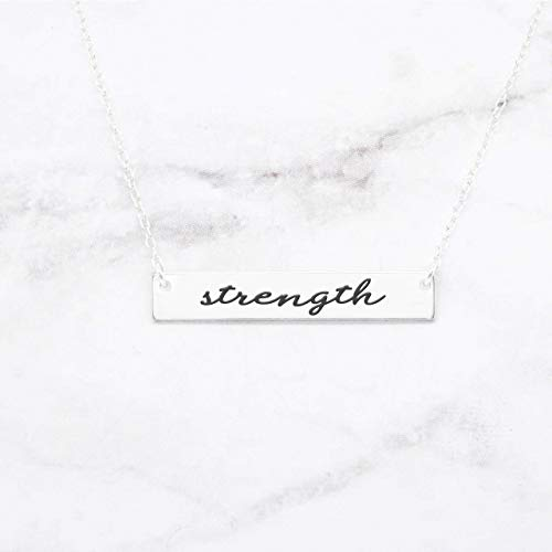 Strength Bar Necklace Strength Jewelry A Motivation Necklace Mantra Pendant Is An Inspirational Charm, Strength Bar Jewelry Gift