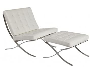 MCM Barcelona Style Modern Pavilion Chair With Ottoman (White)   High  Quality Italian Leather